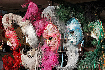 Venetian masks pink, grey, blue and green colors