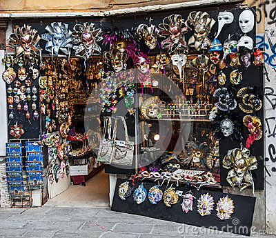 Venetian Masks Shop Editorial Stock Photo