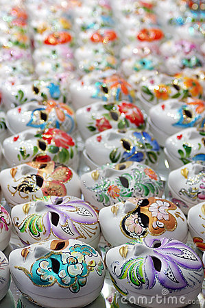 venetian masks in porcelain