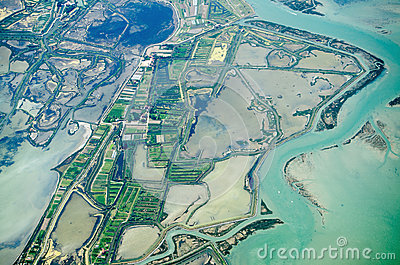 Veneto salt marshes, aerial view