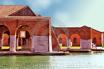 Venice, Arsenale - inner harbour Editorial Photo