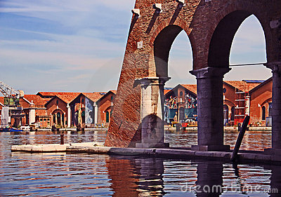 Venice, Arsenale - inner harbour with old docks Editorial Photography