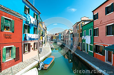 Venice, Burano island - Coloured houses and canal Editorial Photo