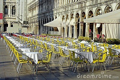 Venice, a cafe on the piazza San Marco