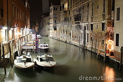 venice canal,night scenes with police boat