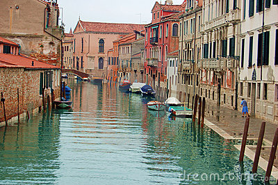 Venice a canal after the rain