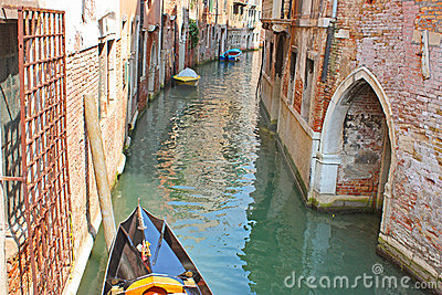 Venice Canal in summer with Gondola