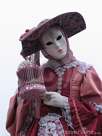 Venice Carnival: mask and birdcage