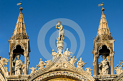 Venice cathedral, architectural detail in Italy