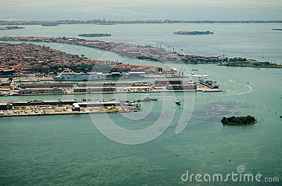 Venice Cruise Ship Dock, Aerial View Editorial Stock Photo