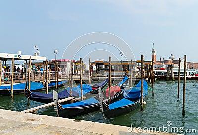 Venice with gondolas on Grand Canal against San Giorgio Maggiore Editorial Stock Photo