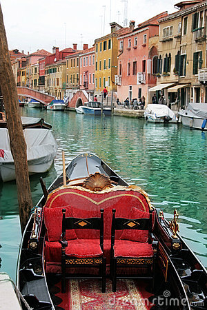Venice: Gondolas waiting for a romantic ride