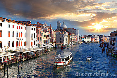 Venice, Grand canal with boats