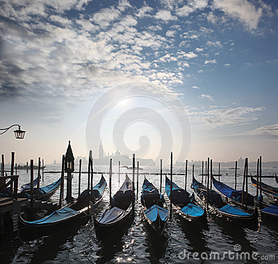 Venice, Grand canal with gondolas