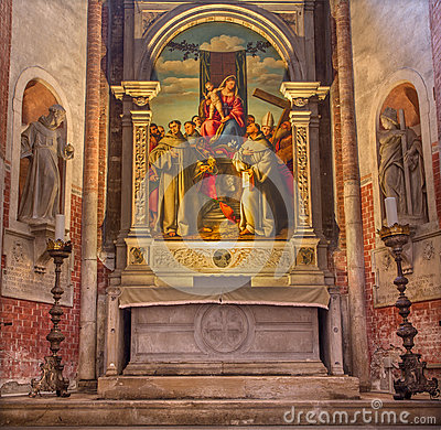 Free VENICE, ITALY - MARCH 12, 2014: Madonna With The First Franciscans Martyrs In Church Basilica Di Santa Maria Gloriosa Dei Frari Royalty Free Stock Image - 45177106