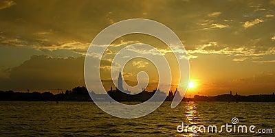 Venice lagoon sunset landscape panorama