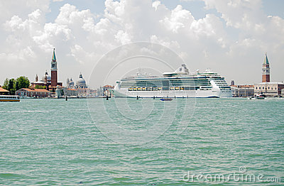 Venice with large Cruise Ship Editorial Image