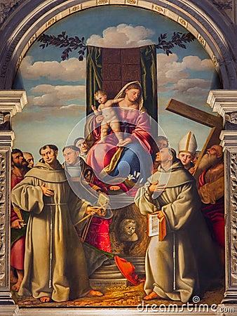 Free Venice - Madonna With The First Franciscans Martyrs By Bernardino Licinio  In Church Basilica Di Santa Maria Gloriosa Dei Frari Royalty Free Stock Images - 41315539