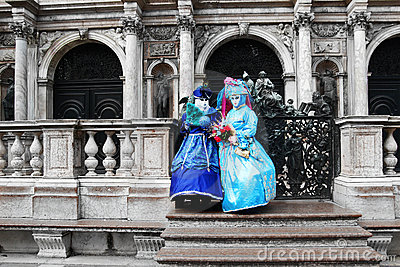 VENICE - MARCH 7: Two unidentified masked persons Editorial Stock Photo