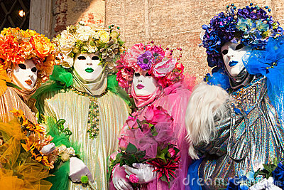 Venice Masks, Carnival. Focus on the right mask.
