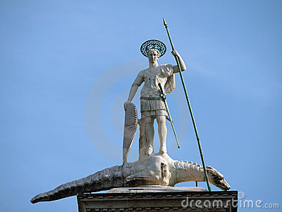 Venice. Piazetta - sculpture of St. Theodore