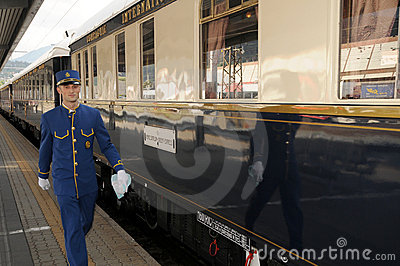 The Venice Simplon-Orient-Express - Conductor Editorial Stock Image