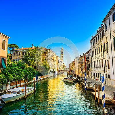 Free Venice Sunset In San Giorgio Dei Greci Water Canal And Church Campanile. Italy Stock Photos - 33584683