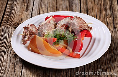 Venison skewer and vegetables