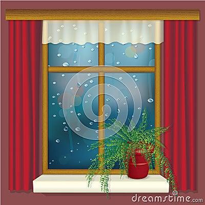 Ventana lluviosa con las cortinas y la flor