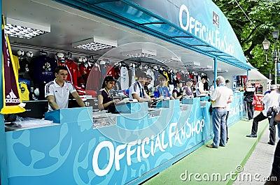 Ventilador-zona em Euro-2012 Fotografia Editorial