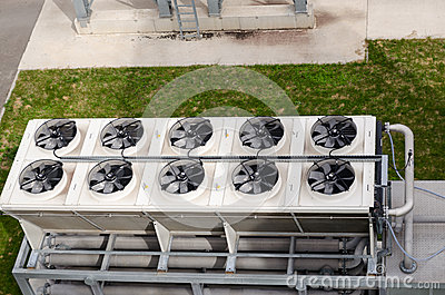 Ventilator fan spin on building biogas plant