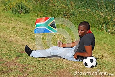 Ventilatore di calcio sudafricano triste