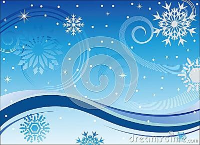 Vento e fiocchi di neve di inverno