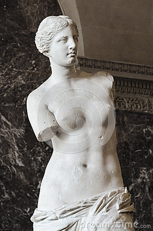The Venus Di Milo, a sculpture of the Roman goddess Venus, is kn Editorial Stock Image