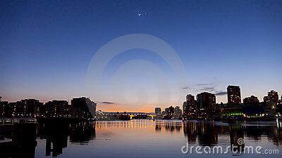 Venus and Moon over Vancouver