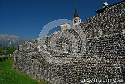 Venzone, Friuli, Italy. The village wall