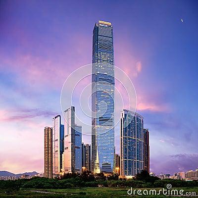 Verbazende cityscape van Hongkong