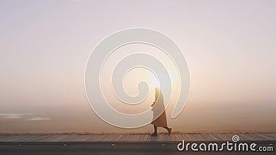 Verbazingwekkende foto op de achtergrond van een gelukkige toeristenvrouw die langs de adembenemende roze zonneschijn loopt en tr stock videobeelden