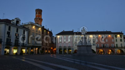 VERCELLI, ITALY - FEBRUARY 2017: The central Piazza Cavour Cavour square with the Torre dell`Angelo Angel`s tower in the. VERCELLI, ITALY - FEBRUARY 2017: The stock video footage