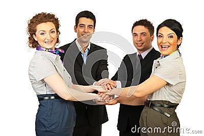 Verenigd vrolijk bedrijfsmensenteam