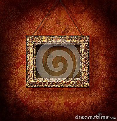 vergoldeter bilderrahmen auf antiker tapete lizenzfreies. Black Bedroom Furniture Sets. Home Design Ideas