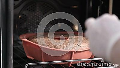 Verificação do cozimento do bolo video estoque