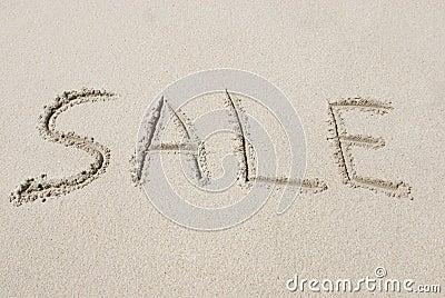 Verkauf geschrieben in Sand
