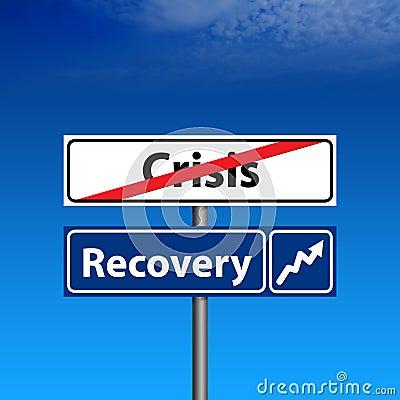 Verkehrsschild das Ende der Krise, Wirtschaftsaufschwung
