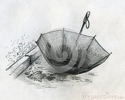 Verlorene Regenschirmskizze