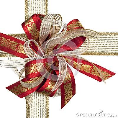 Vermelho e curva do Natal do ouro