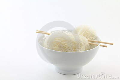 Vermicelli Noodles in White Bowl