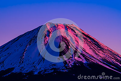 Vermilion summit of Mount Fuji