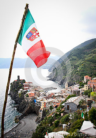 Vernazza Framed by Italian Flag