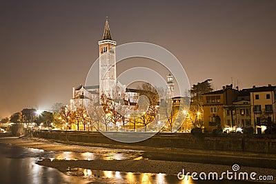 Verona adige river and santa anastasia church at night